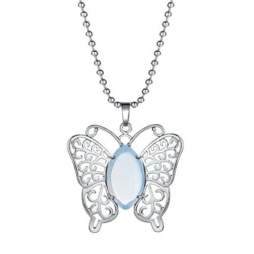 Collar con colgante de mujer Reiki piedra natural mariposa curación Yoga meditación equilibrio encanto Animal joyería gargantilla Lol