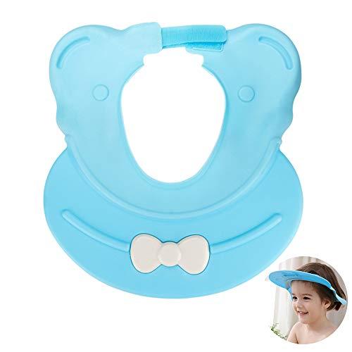 Mreechan Protezione per doccia Baby, Protezione per lo shampoo,Protezione per il bagno Cappello per visiera regolabile per bambini Lavaggio per capelli Blu
