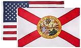 Florida & USA 3x5 Flag Combo Pack – (Silk Screen Printed Florida Flag - 200D Nylon) (Embroidered US Flag - 210D Nylon)
