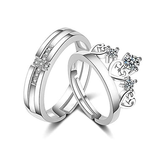 Anillos para hombres y mujeres corona cruz ajustable anillo par anillo