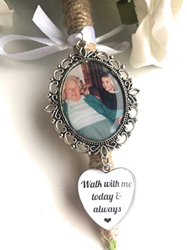 Rockshore Accessories Photo Memory Bouquet Charm In Antique Silver Picture Memorial For Wedding Day Bridal Photo Gift For Bride Mum Nan Grandad Dad Personalised Picture