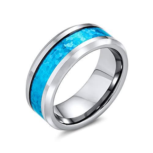 Bling Jewelry Ópalo Azul Simulado Inlay Parejas Banda Boda Anillo De Tungsteno para Hombres Y para Mujer De Tono Plata 8Mm