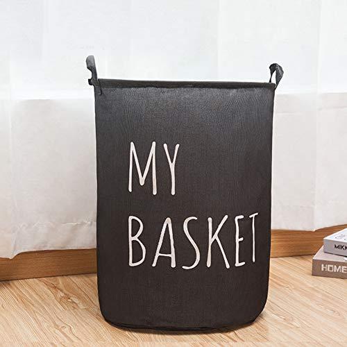 AINH Waterproof Collapsible Laundry Hamper W Handles,Round Cotton Linen Laundry Basket,Large Durable Storage Bin For Dorm Closet L 40x40x49cm(16x16x19inch)