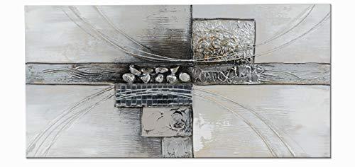 Formano Wandbild Modern grau Silber auf Leinwand mit Holzrahmen 80 x 40 cm (grau Silber - B)