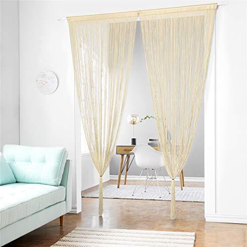 taiyuhomes clásica para espaguetis de cuerda de cortina de placa para Principal Decoración y–Panel con tiras decorativas de borlas de Bosquejo, tela, beige, 90x240