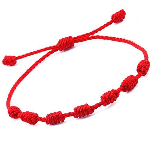 Pulsera roja 7 Nudos. Amuleto del Kabbalah, para la protección y el Mal de Ojo. Cordón de Hilo Rojo de la Suerte, Unisex y Ajustable.
