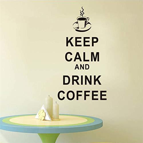 Wandaufkleber Schlafzimmer Behalten Sie Ruhe und trinken Sie Kaffee englische Wörter Hauptdekor für Küchenfenster