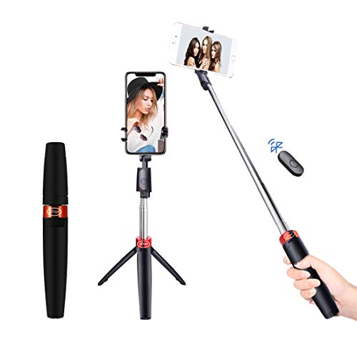 pTron Glam Plus Bluetooth Extendable Selfie Stick with Tripod Stand, Wireless Remote, 73cm Extended Length, Compatible with 6-8cm Width Phones & Replaceable Battery – (Black & Red)