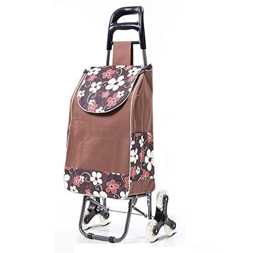 IREANJ Carrito de la compra plegable, carrito de la compra de gran capacidad con tres ruedas y bolsa de tela Oxford extraíble impermeable para el hogar ligero carrito de la compra remolque