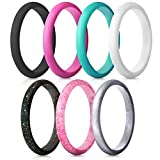 ThunderFit Women's Thin and Stackable Silicone Rings Wedding Bands - 7 Pack