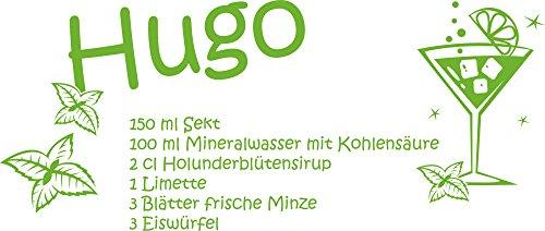 GRAZDesign Wandtattoo Küche Sprüche Hugo mit Minze - Küchentattoo Cocktail Rezept - Wandtattoo für Küche Cocktail Glas für Bar / 71x30cm / 063 lindgrün