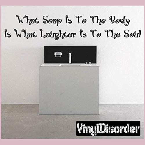 Welke zeep is om The Body What Laughter is to The Soul - Vinyl Muursticker - Muurcitaten - Vinyl Sticker - Badkamerquotes02ET Eenvoudig aan te brengen en verwijderbaar