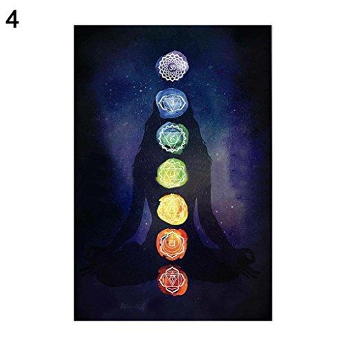 Sanwood - Rainbow 7Chakra Mandala Bohemia Decke Tapisserie Sommer Strand Handtuch Yogamatte, Polyester, 4#, Large