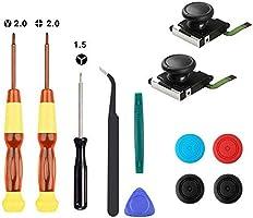 Thlevel 2 x 3D-analoge duimstick, joystick voor NS controller, met Tri-Wing & kruisschroevendraaier, hefboomgereedschap...