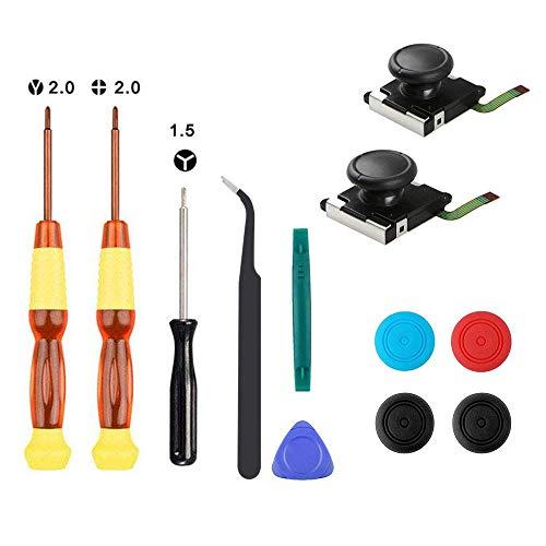 Thlevel 2PCS Joystick analógico 3D para NS, Utiliza para el reemplazo del Joystick Izquierdo Derecho, con Destornillador Herramientas de Reparación y 4 Tapas para Pulgar
