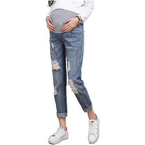 Pantalones De Embarazo Pantalones De Maternidad Para Festival Mujer de moda Jeans Vaqueros De Maternidad Rectos Pantalones De Maternidad Elásticos Con Banda Para El Vientre Leggings Para Embarazadas