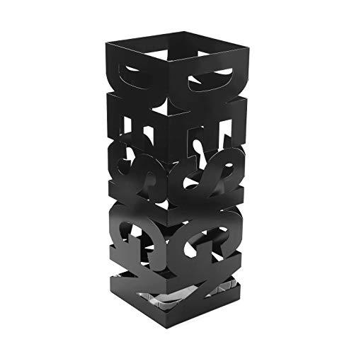 Versa Design Paragüero para la Entrada, Habitación o Hall, Porta paraguas moderno, Medidas (Al x L x An) 52 x 19 x 19 cm, Metal, Color Negro