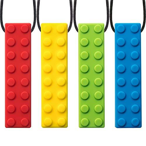 4 Pezzi Masticazione Collana Masticabile per Ragazzi e Ragazze, Dentizione Silicone Masticare Pendenti Collana per la Mamma da Indossare, 4 Colori (Stile C)