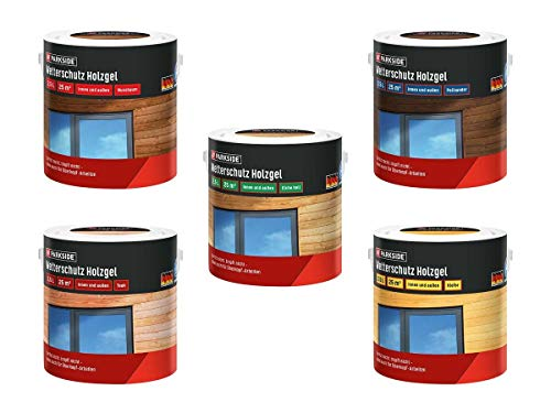 PARKSIDE Baufix Wetterschutz-Holzgel je 2,5 Liter für 25 m² Farbe Nussbaum, Teak, Eiche hell, Kiefer