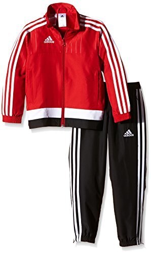 adidas Kinder Sportanzug Tiro15 pre su y Trainingsanzug, Power Red/White/Black, 128