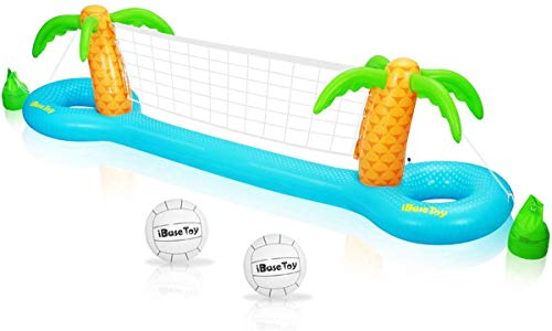 "iBaseToy Inflatable Pool Volleyball Game Set with Adjustable Net and 2 Balls- Floating Water Volleyball Game Swimming Pool Toy for Adults and Kids- Easy to Inflate and Deflate (118""x25.59""x33.46"")"