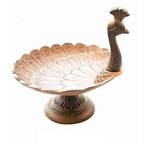 Ascalon Small Peacock Cast Iron Bird Bath/Feeder Ornamental Garden Feature