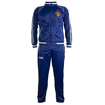 Soviet Union CCCP USSR 1970 s Jacket Retro Football Tracksuit Zipped Jacket Men Top and Pants - XL Blue