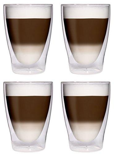 4x 280ml XL vasos para latte macchiato vasos copas/Cóctel/Té helado de/Zumo de y agua-4x 280ml cristal térmico con efecto flotante de Feelino, 4x 280ml