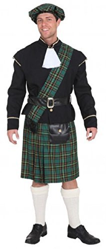 Mens Green Scottish Lord Highlander Celtic Stag Do Night Party Funny Fancy Dress Costume Outfit (Large (EU 50/52))