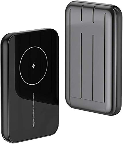 Wireless Power Bank, 20W Mini Magnetic Wireless Charging Power Bank 5000mAh Fast Charger Portable External Battery Powerbank for iPhone 12,Mini,Pro,Pro Max,Samsung, iPad (Black)