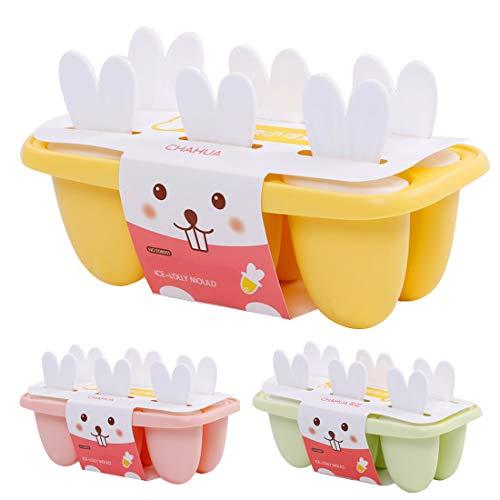 Eisformen 6 Eisförmchen Popsicle Formen Set, Eisform Silikon, DIY Ice Pop Lolly Popsicle, Stieleisformer LFGB Geprüft und BPA Frei, Mini Eisformen für Kinder, Baby, Erwachsene (Gelb)