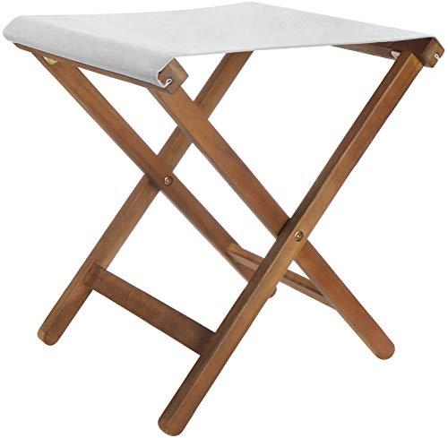 com-four® Klappbarer Sitzhocker aus Holz - Kompakter Klappstuhl - Platzsparender Falthocker - Ideal für Garten, Camping, Angeln, Outdoor (1 Stück - Klapphocker braun/grau)