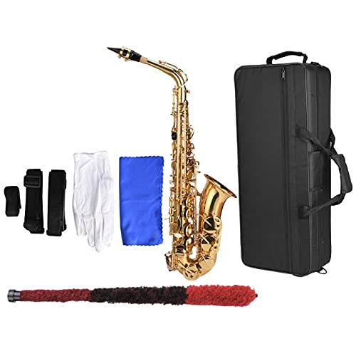 Kit sassofono contralto in mi bemolle in ottone con spazzola per la pulizia dei guanti bianchi valigia