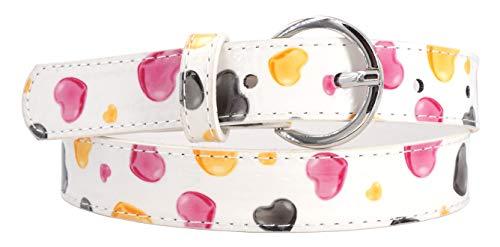 EANAGO Dulce cinturón infantil para niñas en la guardería y la escuela primaria (5-10 años, cintura 57-72 cm), beige/blanco con corazones de colores. Tamaño del cinturón: 65 cm, longitud total: 80 cm.
