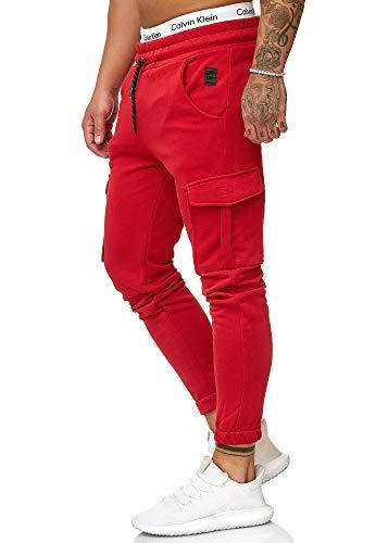 OneRedox Herren Jogging Hose Jogger Streetwear Sporthose Modell 1213 Rot L