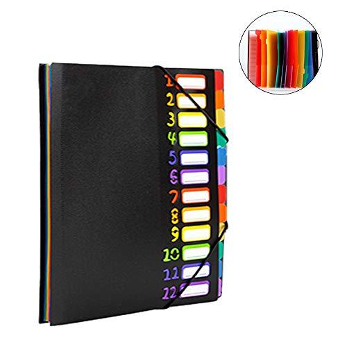 Empireo A4 ドキュメントファイル 24ポケット ファイル 書類 整理 付箋付き 持ち運び 書類ケース 収納 かわいい カラフル おしゃれ (黒)