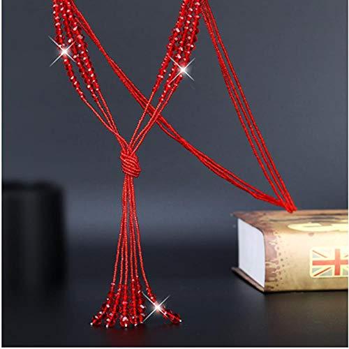 SHUX Graziosi Strati Lunghi Nappa Perline di Cristallo Collana Donna Moda Joker Maglione Catena Semplice Gioielli Rosso Nero