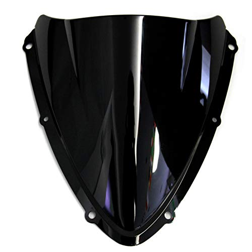RKRCXH Motocicleta Doble Bubble Windshield/Windscreen Fit For Suzuki GSXR 600/750 K8 2008 2009 2010 Negro Deflector de Viento para Motocicleta