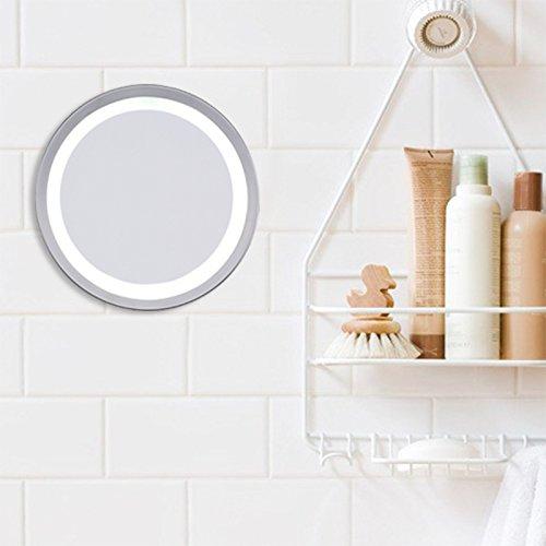 ERCZYO 6 pouces LED Miroir de maquillage rond 3x / 5x Grossissement Ventouse Tenture murale Miroirs de salle de bain ERCZYO (Color : NO. 02#)