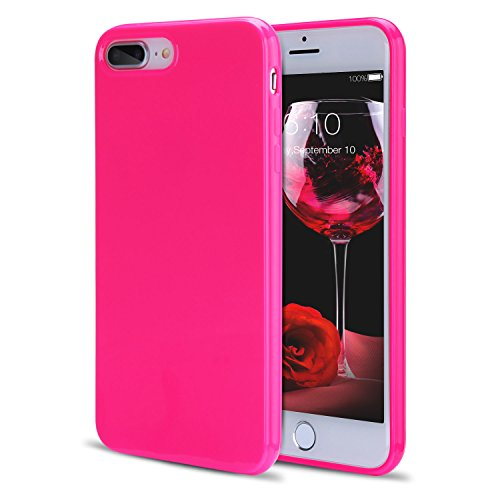 iPhone 8 Plus Case, iPhone 7 Plus Case for Girls, FGA Sugar Candy Cute Shockproof Protective Slim-fit Solid Color Flexible Soft TPU Gel Case for iPhone 8 Plus(2017), iPhone 7 Plus(2016)(Hot Pink)