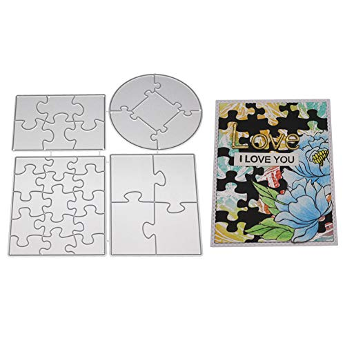 zmigrapddn Stanzschablone, Puzzle-Design, Prägung, Stanzformen, Werkzeug, Schablone für Karten, Scrapbooking, Album, Papier, Karten, Basteln, Metall silber