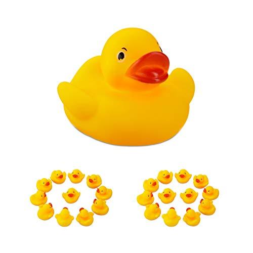Relaxdays 24 x Badeente 5 cm, klassisches Quietscheentchen für die Badewanne, Badespielzeug für Groß und Klein, Gummiente, gelb