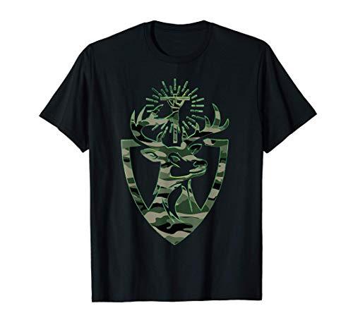 Hubert Hubertus Patrón de los cazadores Ciervo Camo Hombres Camiseta