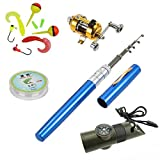 Pen Fishing Pole 39 Inch Mini Pocket Fishing Rod and Reel Combos Travel Fishing Rod Set - Pocket Fishing Rod Pole + Reel Aluminum Alloy + Fishing Line + Soft Lures Set + 7 in 1 Safety Whistle