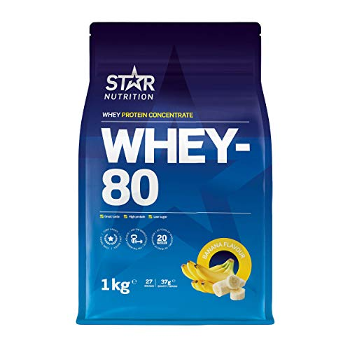 Star Nutrition | Whey 80 | Pure Concentrated Diet Whey Protein Powder with High Protein & Low Sugar | Protein Powders for Perfect Protein Shakes | Banana Flavor | 1Kg