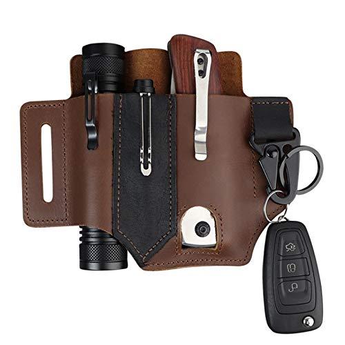 Multitool-Tasche für Gürtel, Leder EDC Pocket Organizer für Herren, Lederscheide mit Stifthalter, Schlüsselanhänger, Taschenlampen-Etui, EDC Ledertasche, Braun