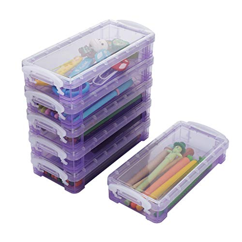 BTSKY 6 Pack Large Capacity Pencil Box with White Buckles, Office Supplies Storage Organizer Box, Brush Painting Pencils Storage Box Watercolor Pen Container Drawing Tools Purple