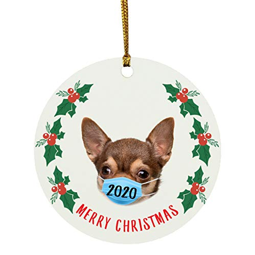 Lovesout Funny Gifts Merry Christmas Chihuahua Brown Quarantine Circle Ornament