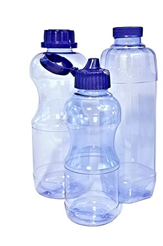 9x TRITAN Trinkflaschen 100% ohne Weichmacher Set bestehend aus: 3x 1 Liter (rund) 3x 1 Liter (eckig), 3x 0,5 Liter (rund) + 5 Standard-, + 4 Dicht-, + 2 Trinkdeckel, weichmacherfrei / BPA frei, Öffnung (33 mm), geschirrspülfest, lebensmittelecht, geschmacksneutral und geruchsneutral / geruchsfrei