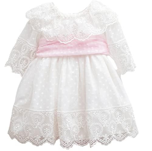 Dilaras Babybekleidung Robe de baptême pour bébé fille en rose et blanc, manches longues, pour nouveau-né., Rose, 0 mois